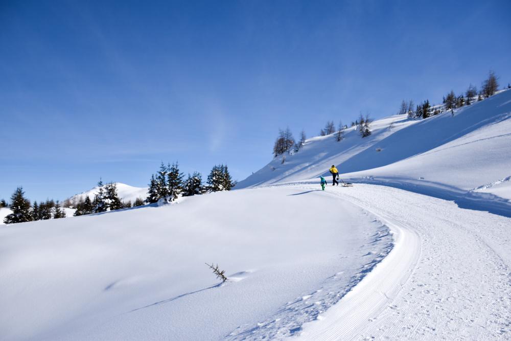 Winterwanderung Rundweg Feldis Viamala Graubünden Schweiz Weg durch wunderschöne Landschaft