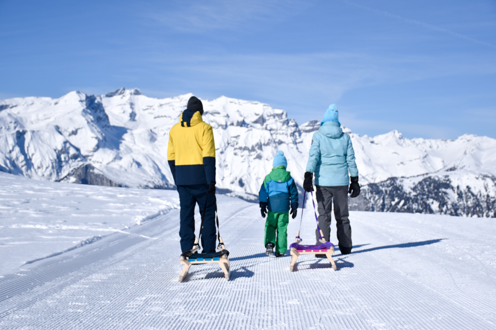 Winterwanderung Rundweg Feldis Viamala Graubünden Schweiz