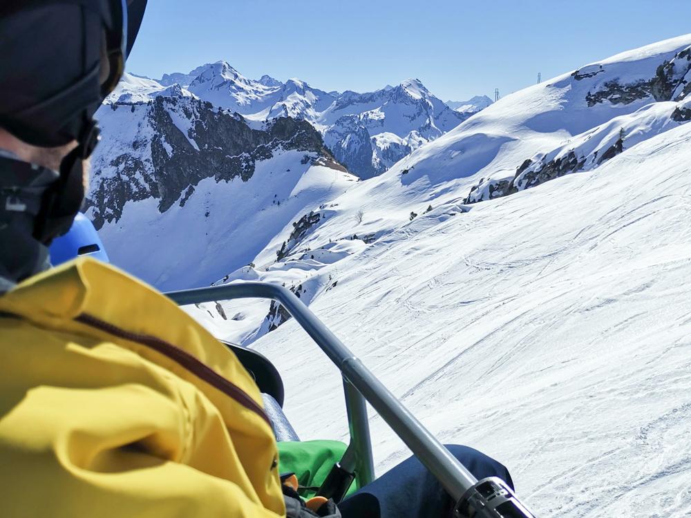 Familien-Skigebiet Stoos Schwyz Zentralschweiz Schweiz Aussicht Sesselbahn