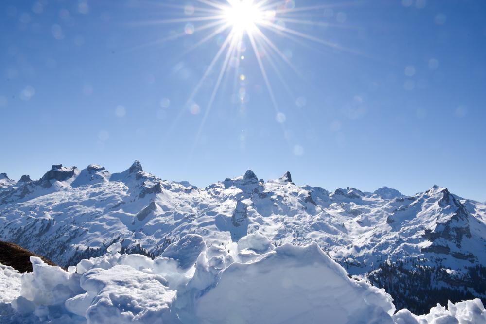 Familien-Skigebiet Stoos Schwyz Zentralschweiz Schweiz Klingenstock Aussicht