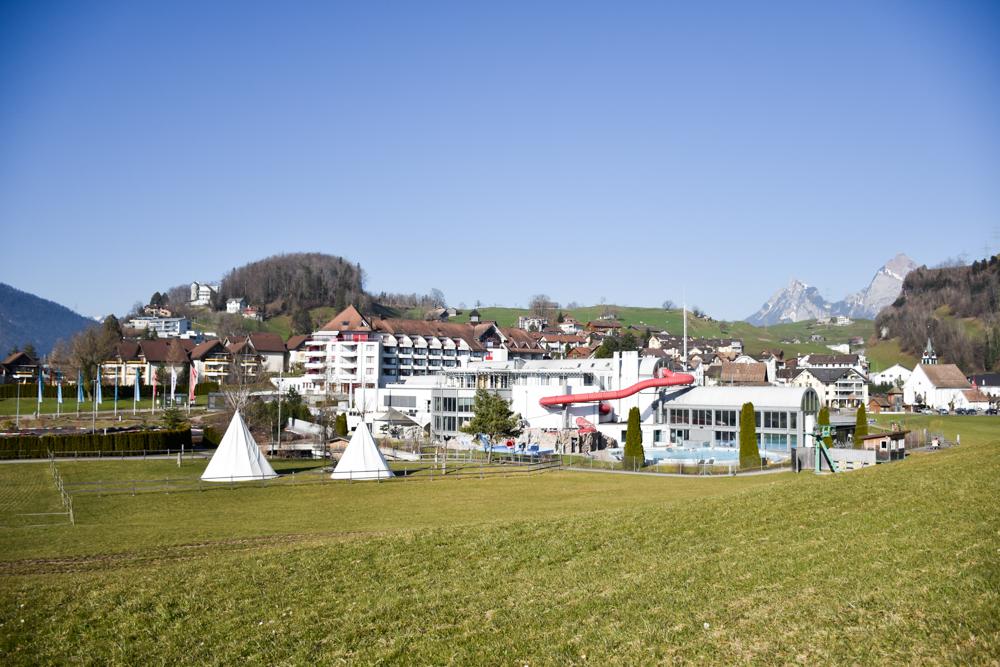 Unterkunft Reka-Ferienresort Swiss Holiday Park Morschach Schwyz Schweiz Blick auf die Anlage