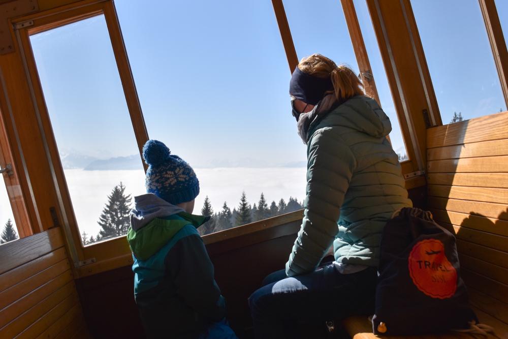 Winterwanderung Rigi Ausflug Familie Zentralschweiz Aussicht Rigibahn übers Nebelmeer