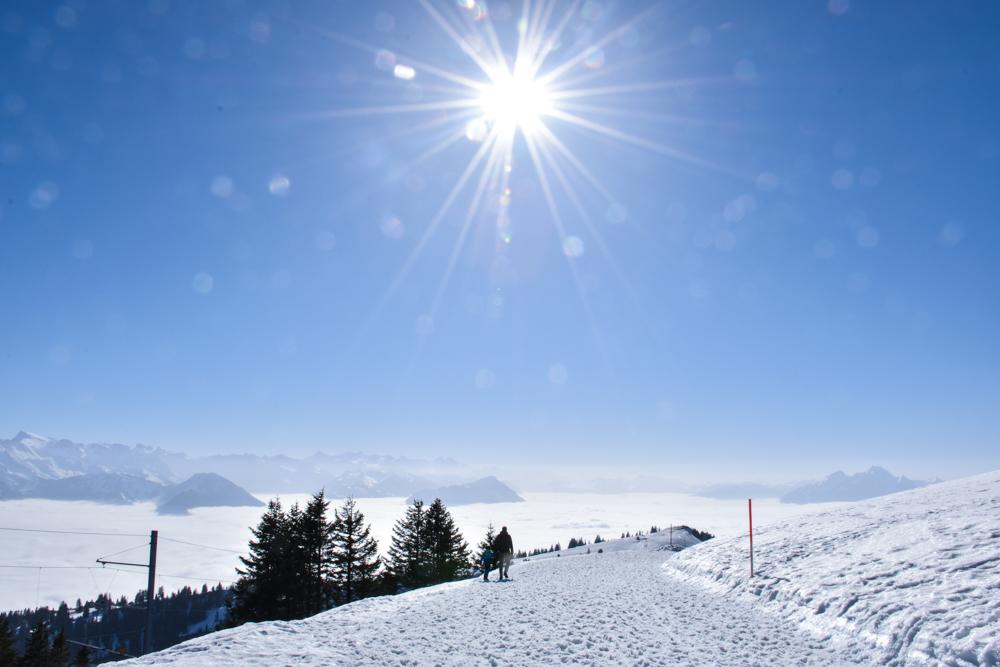 Winterwanderung Rigi Ausflug Familie Zentralschweiz Wanderweg nach Rigi Staffel