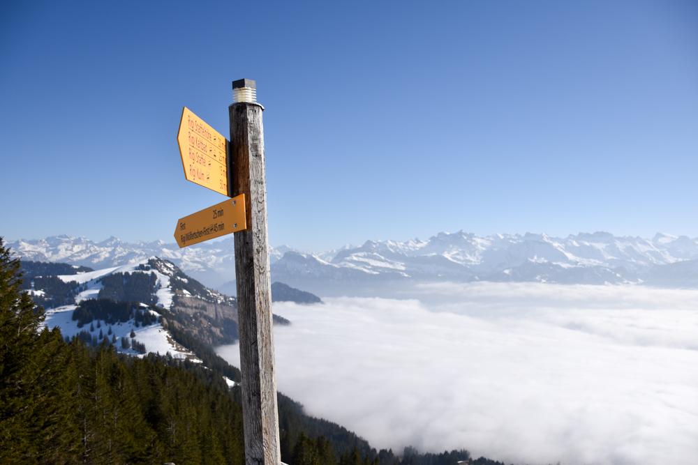 Winterwanderung Rigi Ausflug Familie Zentralschweiz Wegweiser Rotstock