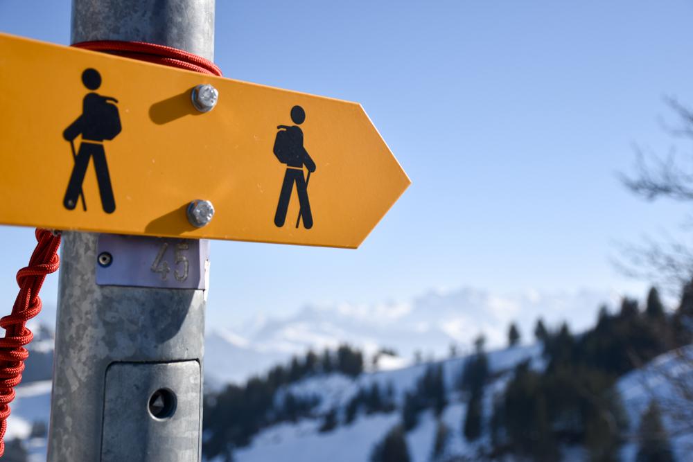 Winterwanderung Rigi Ausflug Familie Zentralschweiz Wegweiser