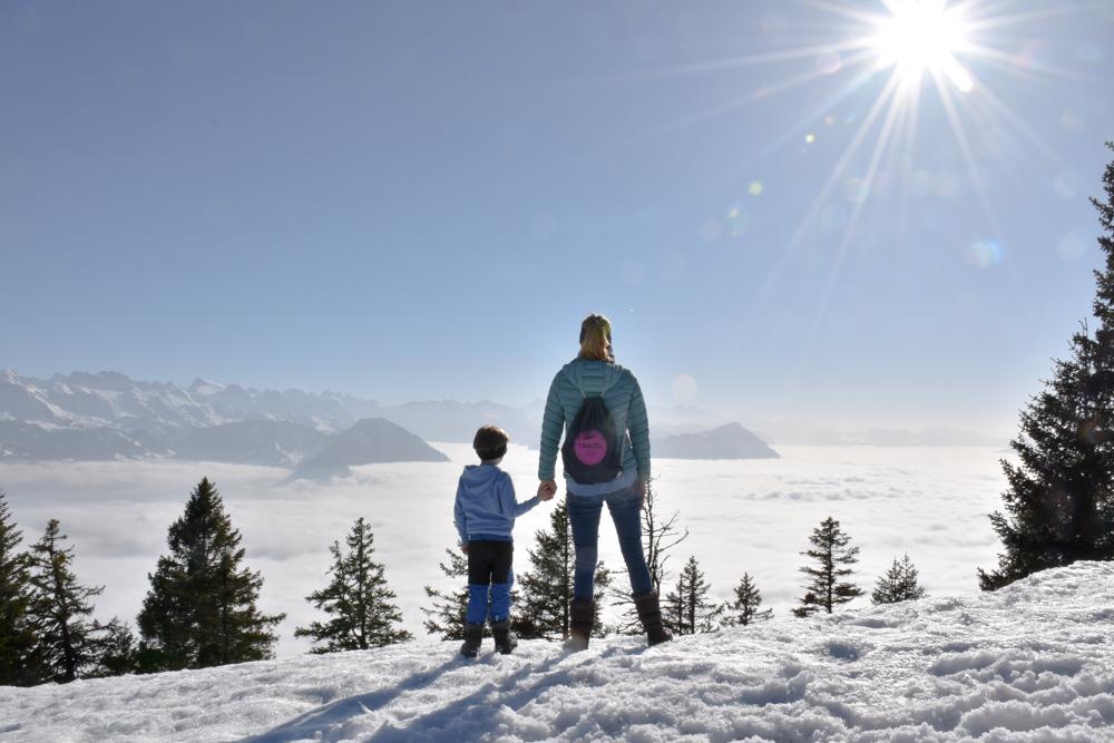 Winterwanderung Rigi Ausflug Familie Zentralschweiz
