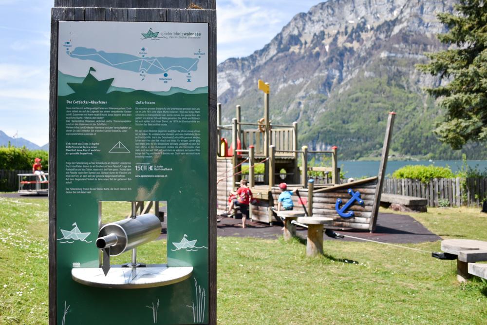 Spielerlebnis Walensee Heidiland Schweiz Spielplatz Unterterzen