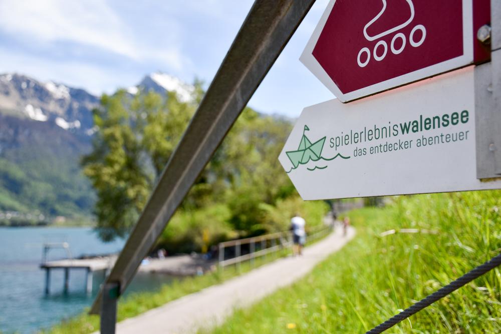 Spielerlebnis Walensee Heidiland Schweiz gute Beschilderung