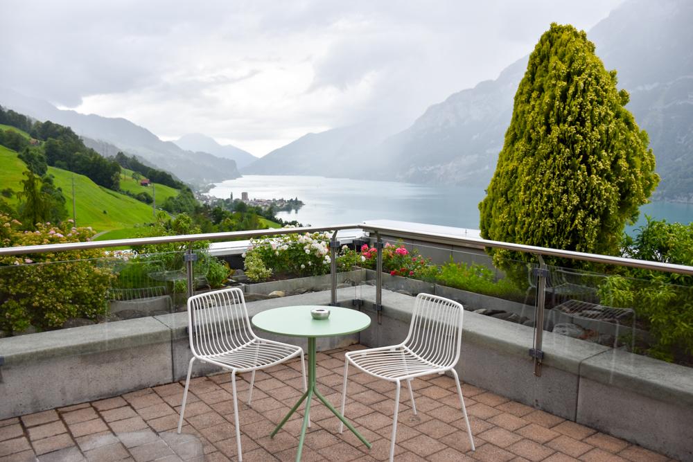 Hoteltipp Walensee Schweiz Quarten Hotel Neu-Schönstatt Rooftop Terrasse