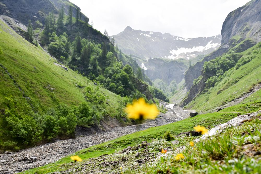 Ausflugstipp Wanderung Wasserfallarena Batöni Heidiland Schweiz Blick zum ersten Wasserfall