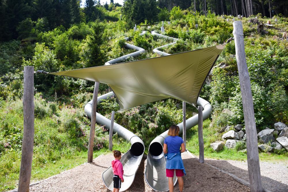 Ausflugstipp Erlebnisberg Golm Montafon Österreich Parallelrutsche Waldrutschenpark
